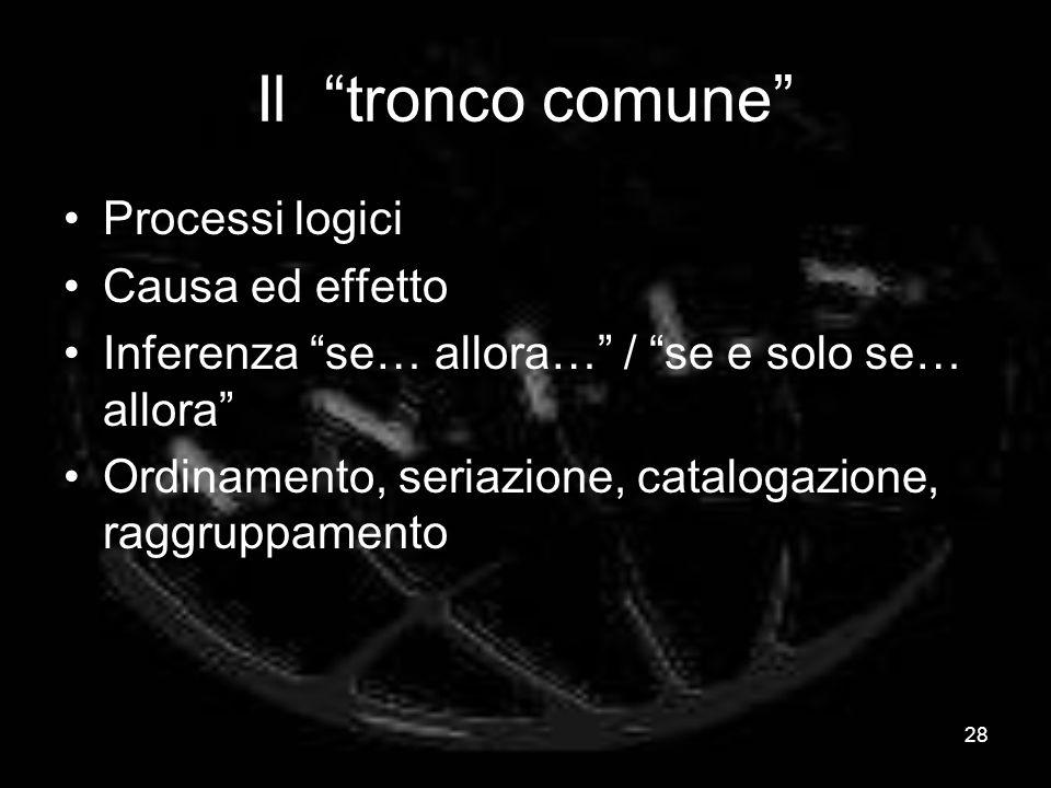 Il tronco comune Processi logici Causa ed effetto Inferenza se… allora… / se e solo se… allora Ordinamento, seriazione, catalogazione, raggruppamento 28