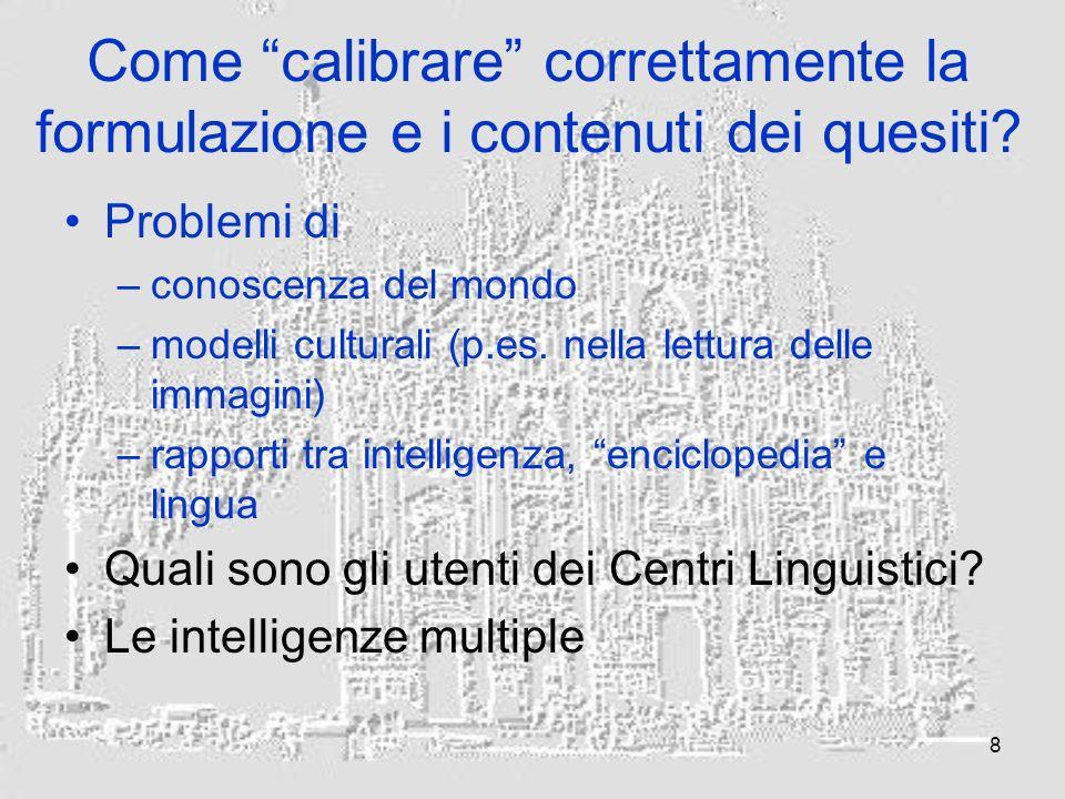 8 Come calibrare correttamente la formulazione e i contenuti dei quesiti.