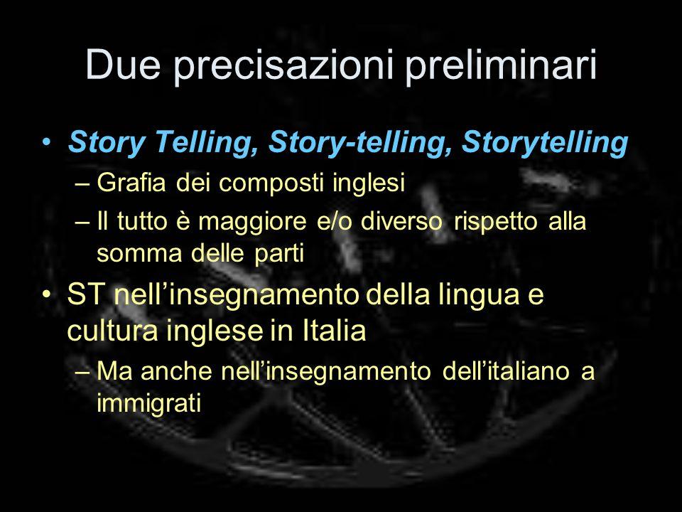 Due precisazioni preliminari Story Telling, Story-telling, Storytelling –Grafia dei composti inglesi –Il tutto è maggiore e/o diverso rispetto alla somma delle parti ST nellinsegnamento della lingua e cultura inglese in Italia –Ma anche nellinsegnamento dellitaliano a immigrati