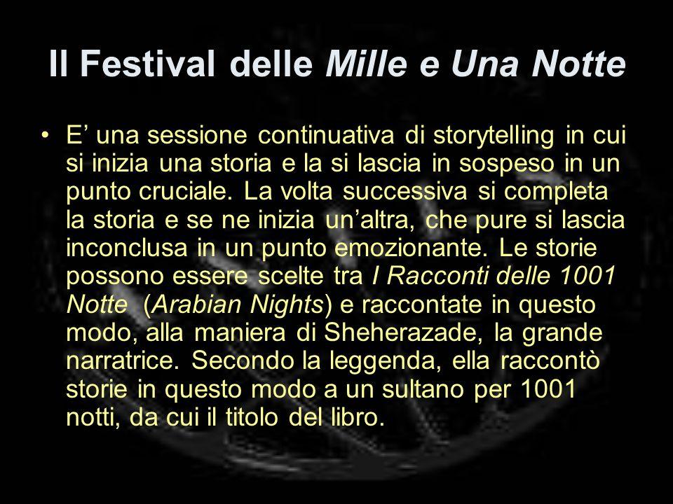 Il Festival delle Mille e Una Notte E una sessione continuativa di storytelling in cui si inizia una storia e la si lascia in sospeso in un punto cruciale.