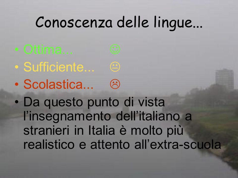 Conoscenza delle lingue... Ottima... Sufficiente... Scolastica... Da questo punto di vista linsegnamento dellitaliano a stranieri in Italia è molto pi