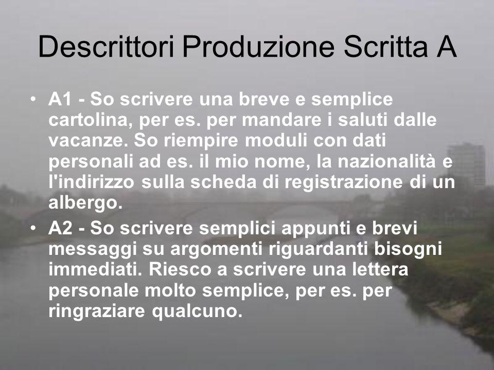 Descrittori Produzione Scritta A A1 - So scrivere una breve e semplice cartolina, per es. per mandare i saluti dalle vacanze. So riempire moduli con d