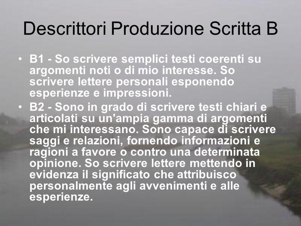 Descrittori Produzione Scritta B B1 - So scrivere semplici testi coerenti su argomenti noti o di mio interesse. So scrivere lettere personali esponend