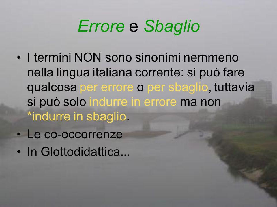 Errore e Sbaglio I termini NON sono sinonimi nemmeno nella lingua italiana corrente: si può fare qualcosa per errore o per sbaglio, tuttavia si può so