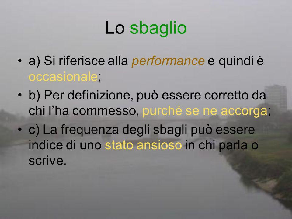 Lo sbaglio a) Si riferisce alla performance e quindi è occasionale; b) Per definizione, può essere corretto da chi lha commesso, purché se ne accorga;