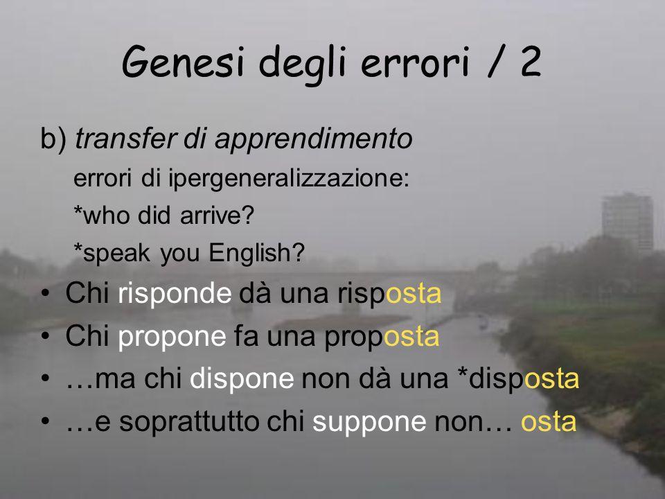 Genesi degli errori / 2 b) transfer di apprendimento errori di ipergeneralizzazione: *who did arrive? *speak you English? Chi risponde dà una risposta