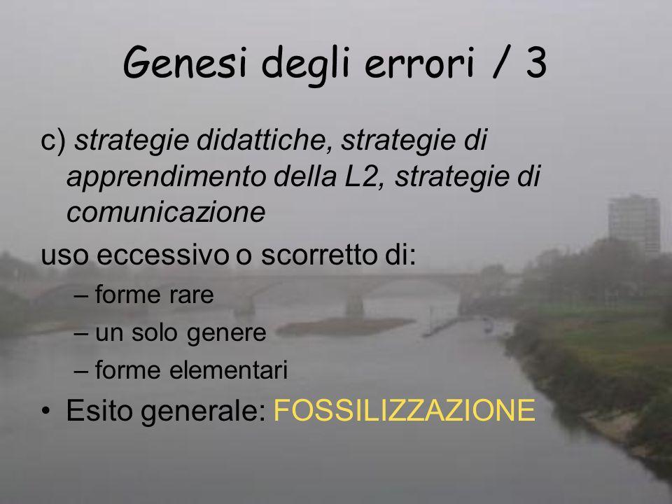 Genesi degli errori / 3 c) strategie didattiche, strategie di apprendimento della L2, strategie di comunicazione uso eccessivo o scorretto di: –forme