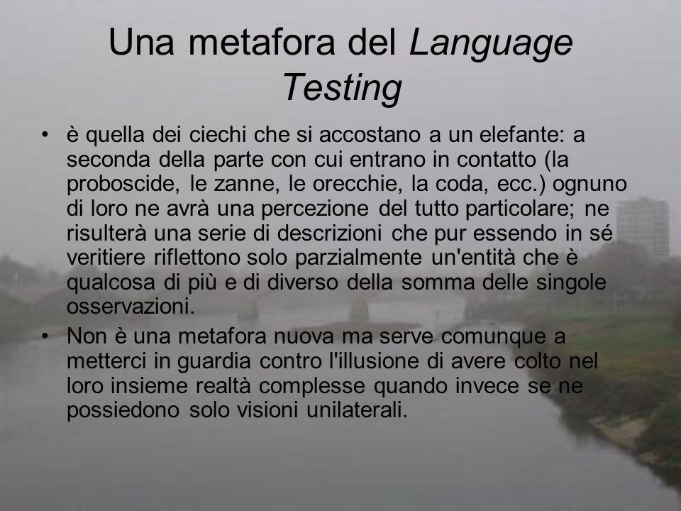Una metafora del Language Testing è quella dei ciechi che si accostano a un elefante: a seconda della parte con cui entrano in contatto (la proboscide