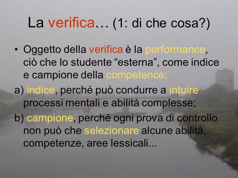 La verifica… (1: di che cosa?) Oggetto della verifica è la performance, ciò che lo studente esterna, come indice e campione della competence: a) indic