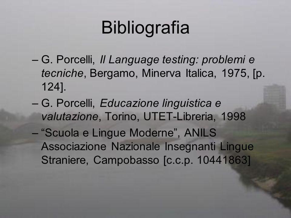 Bibliografia –G. Porcelli, Il Language testing: problemi e tecniche, Bergamo, Minerva Italica, 1975, [p. 124]. –G. Porcelli, Educazione linguistica e