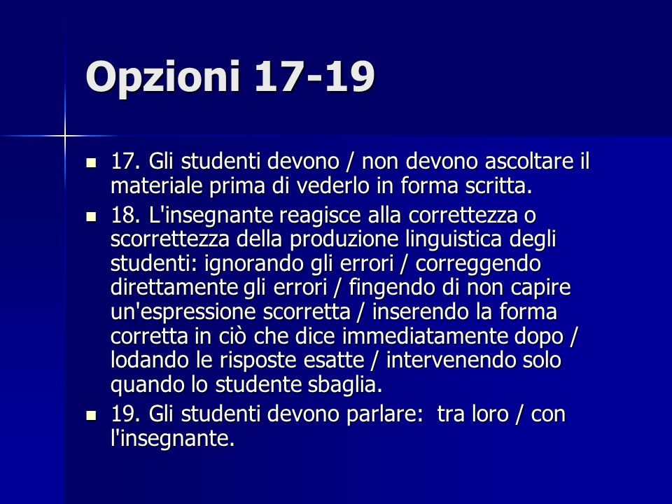 Opzioni 17-19 17.