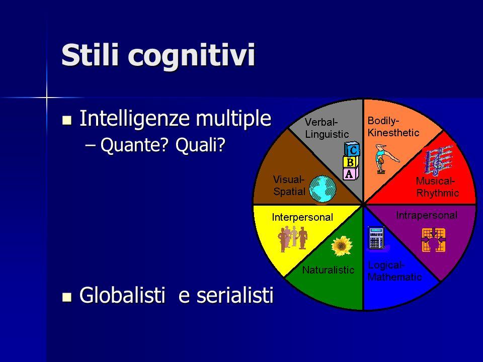 Stili cognitivi Intelligenze multiple Intelligenze multiple –Quante.