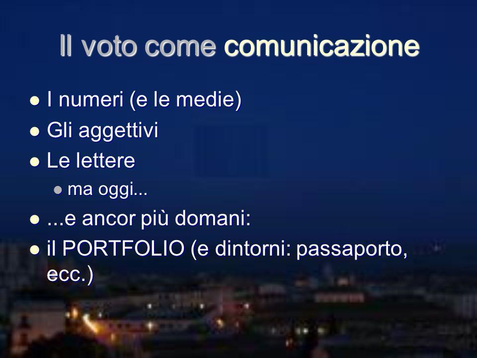 Il voto come comunicazione I numeri (e le medie) I numeri (e le medie) Gli aggettivi Gli aggettivi Le lettere Le lettere ma oggi... ma oggi......e anc
