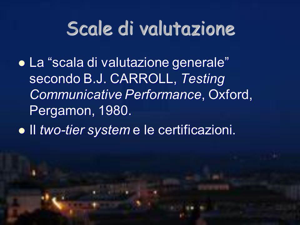 Scale di valutazione La scala di valutazione generale secondo B.J. CARROLL, Testing Communicative Performance, Oxford, Pergamon, 1980. La scala di val