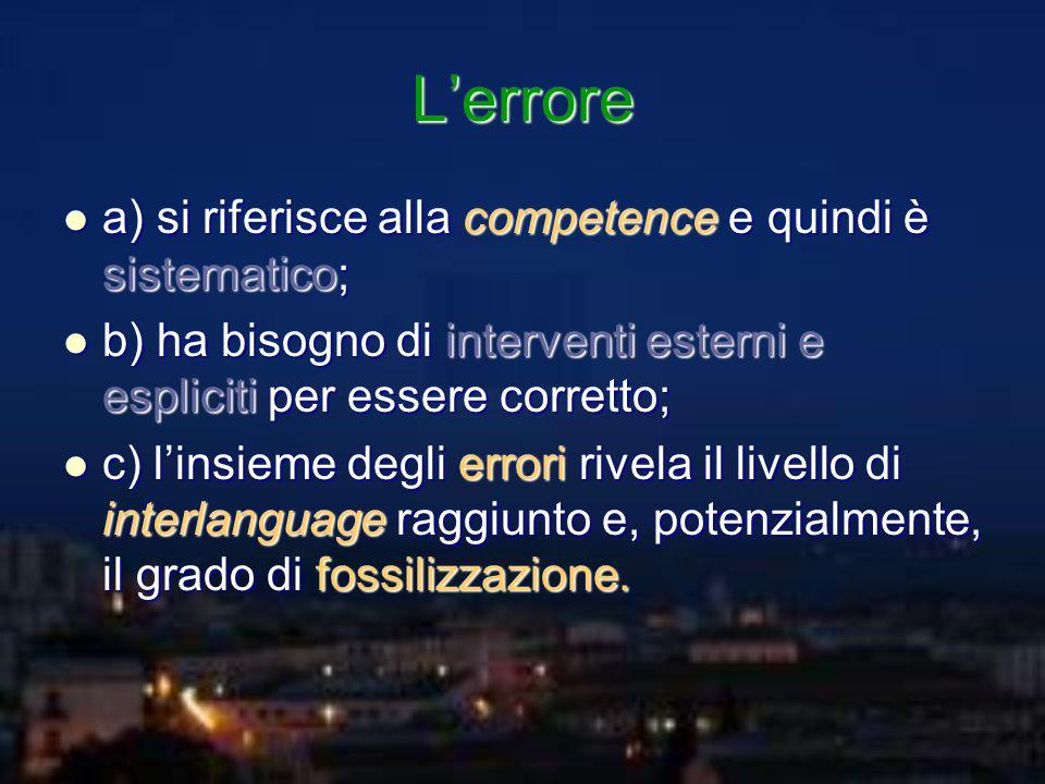 Lerrore a) si riferisce alla competence e quindi è sistematico; a) si riferisce alla competence e quindi è sistematico; b) ha bisogno di interventi es