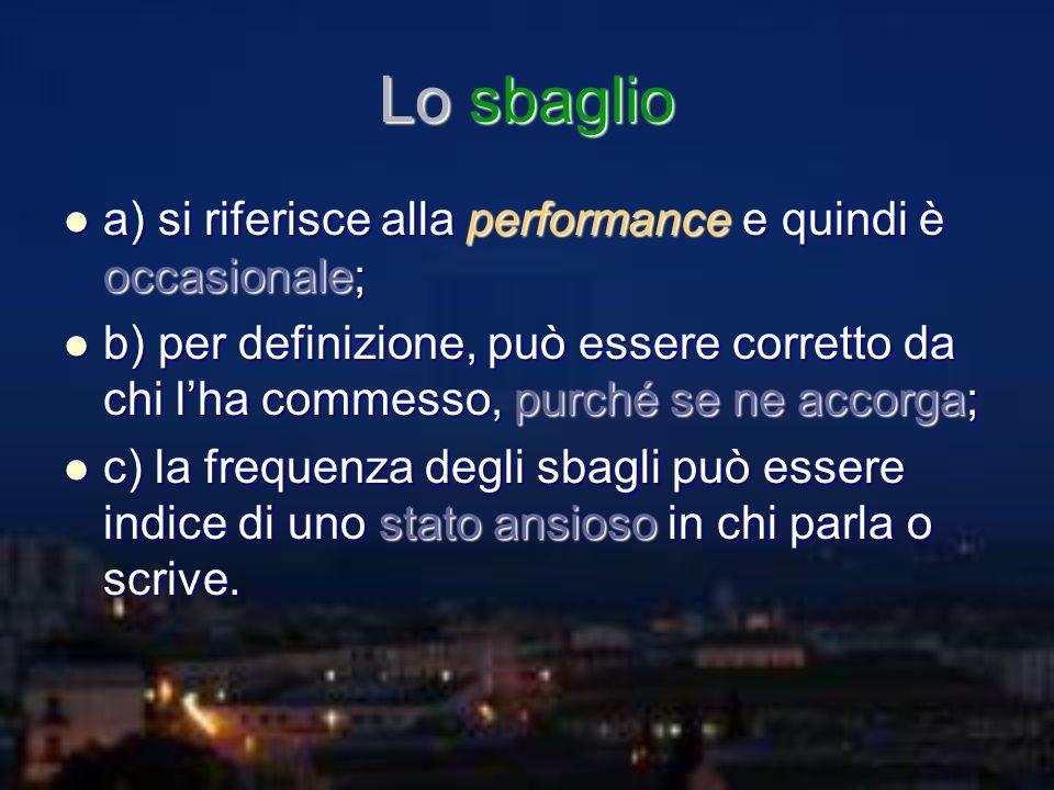 Lo sbaglio a) si riferisce alla performance e quindi è occasionale; a) si riferisce alla performance e quindi è occasionale; b) per definizione, può e