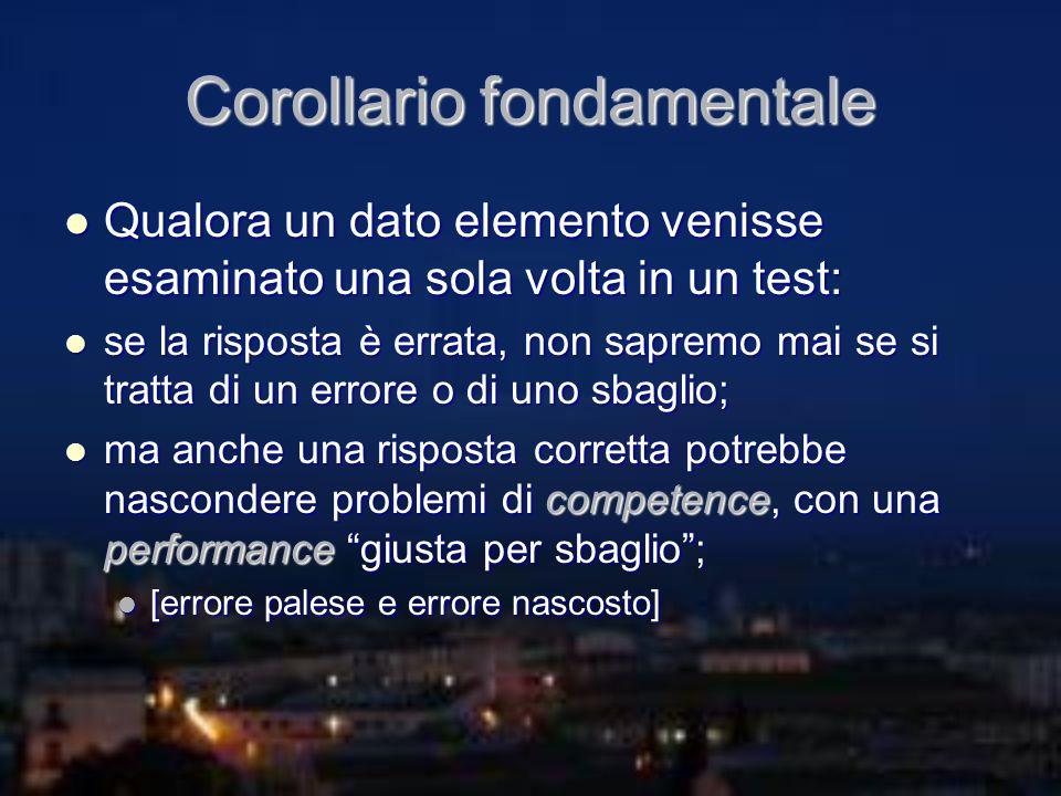 Corollario fondamentale Qualora un dato elemento venisse esaminato una sola volta in un test: Qualora un dato elemento venisse esaminato una sola volt