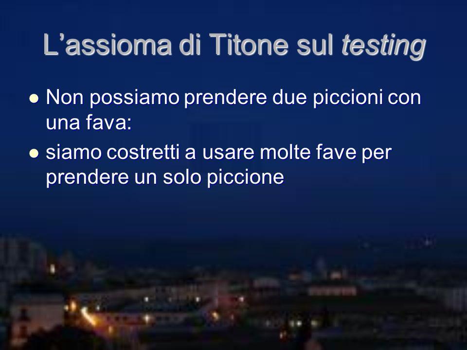 Lassioma di Titone sul testing Non possiamo prendere due piccioni con una fava: Non possiamo prendere due piccioni con una fava: siamo costretti a usa