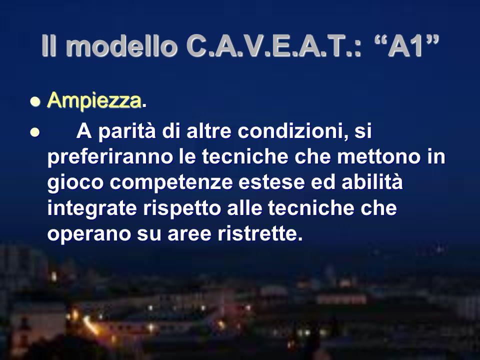 Il modello C.A.V.E.A.T.: A1 Ampiezza. Ampiezza. A parità di altre condizioni, si preferiranno le tecniche che mettono in gioco competenze estese ed ab