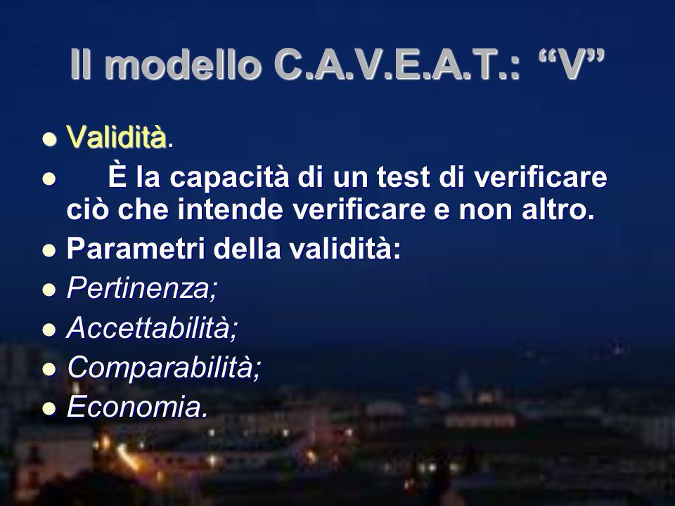 Il modello C.A.V.E.A.T.: V Validità. Validità. È la capacità di un test di verificare ciò che intende verificare e non altro. È la capacità di un test