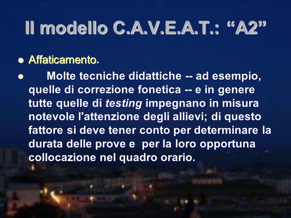 Il modello C.A.V.E.A.T.: A2 Affaticamento. Affaticamento. Molte tecniche didattiche -- ad esempio, quelle di correzione fonetica -- e in genere tutte