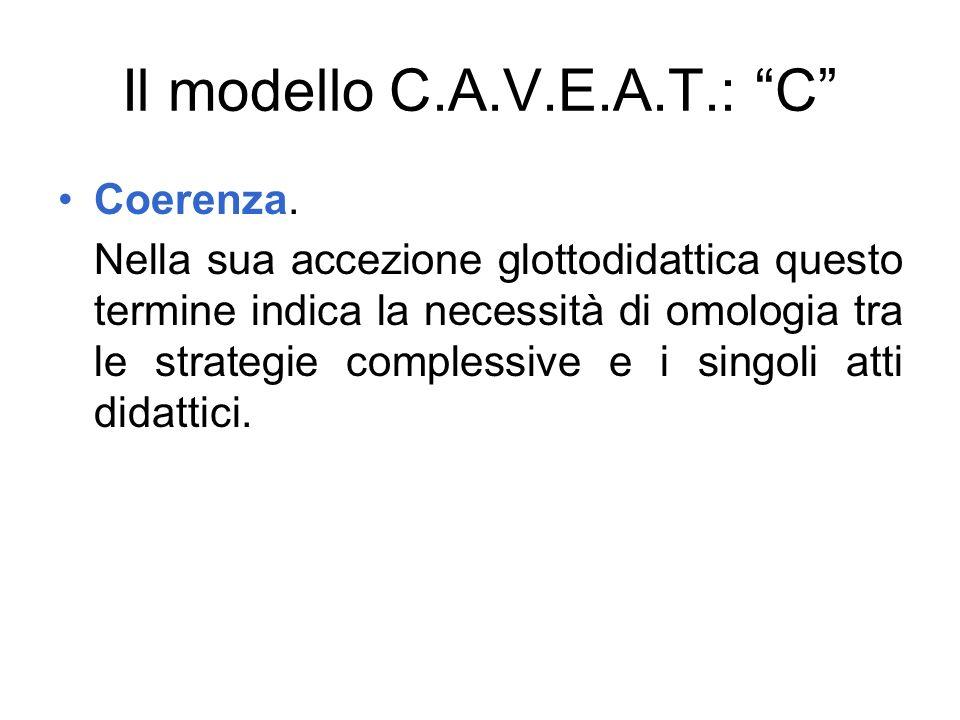 Il modello C.A.V.E.A.T.: C Coerenza. Nella sua accezione glottodidattica questo termine indica la necessità di omologia tra le strategie complessive e