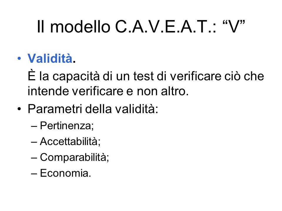Il modello C.A.V.E.A.T.: V Validità. È la capacità di un test di verificare ciò che intende verificare e non altro. Parametri della validità: –Pertine