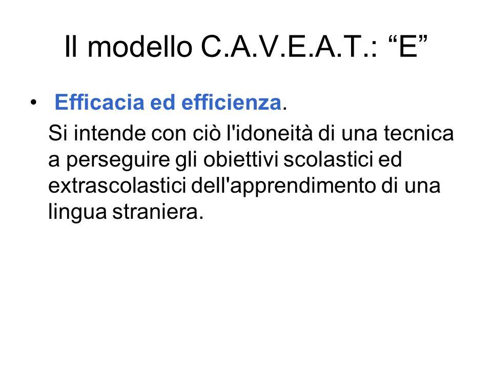 Il modello C.A.V.E.A.T.: E Efficacia ed efficienza. Si intende con ciò l'idoneità di una tecnica a perseguire gli obiettivi scolastici ed extrascolast