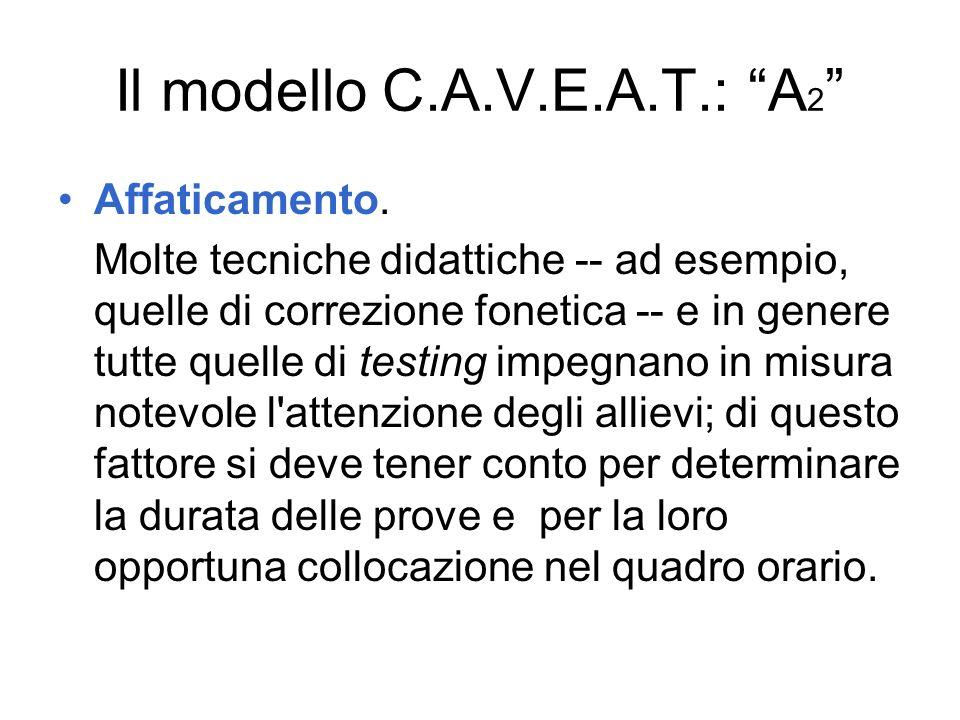 Il modello C.A.V.E.A.T.: A 2 Affaticamento. Molte tecniche didattiche -- ad esempio, quelle di correzione fonetica -- e in genere tutte quelle di test