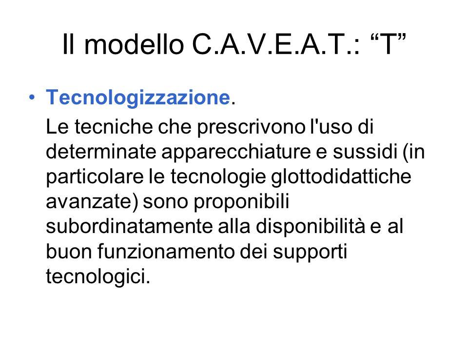 Il modello C.A.V.E.A.T.: T Tecnologizzazione. Le tecniche che prescrivono l'uso di determinate apparecchiature e sussidi (in particolare le tecnologie