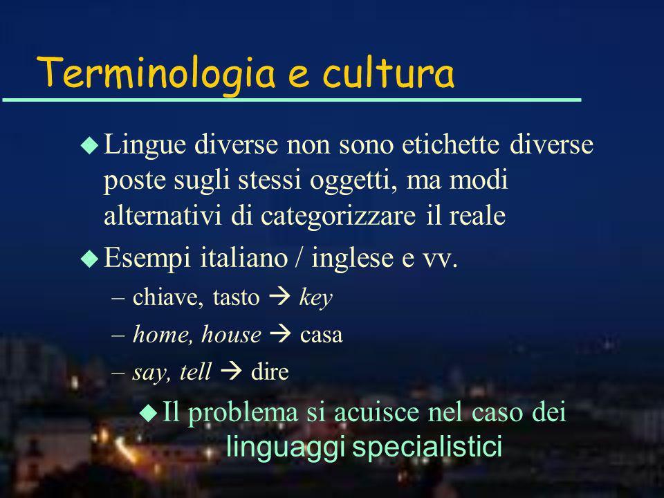 Terminologia e cultura u Lingue diverse non sono etichette diverse poste sugli stessi oggetti, ma modi alternativi di categorizzare il reale u Esempi italiano / inglese e vv.