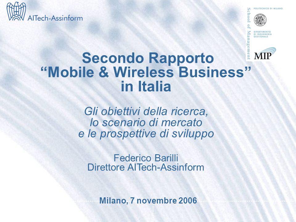 Convegno Rapporto Mobile & Wireless Business 2006 Federico Barilli - Direttore AITech-Assinform Milano, 7 novembre 2006 – Slide 10 Mercato italiano dellICT (1°H 2004 – 1°H 2006) Valori in Mln e % 31.708 +2.1% +0.4% +2.9% 30.803 31.464 +0.6% +1.1% +0.8% Fonte: AITech-Assinform / NetConsulting