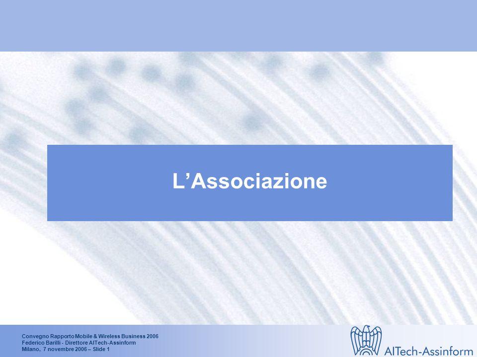 Convegno Rapporto Mobile & Wireless Business 2006 Federico Barilli - Direttore AITech-Assinform Milano, 7 novembre 2006 – Slide 11 Le quote dei portatili sul mercato dei Personal Computer in Italia (1°H 2001- 1° H 2006) % medio annuo (2001-2006) Portatili: +63.6% Fonte: AITech-Assinform / NetConsulting 1.275.900 2.020.000 74% 47.8% 26% 52.2%