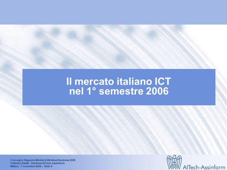 Convegno Rapporto Mobile & Wireless Business 2006 Federico Barilli - Direttore AITech-Assinform Milano, 7 novembre 2006 – Slide 9 Il mercato italiano ICT nel 1° semestre 2006