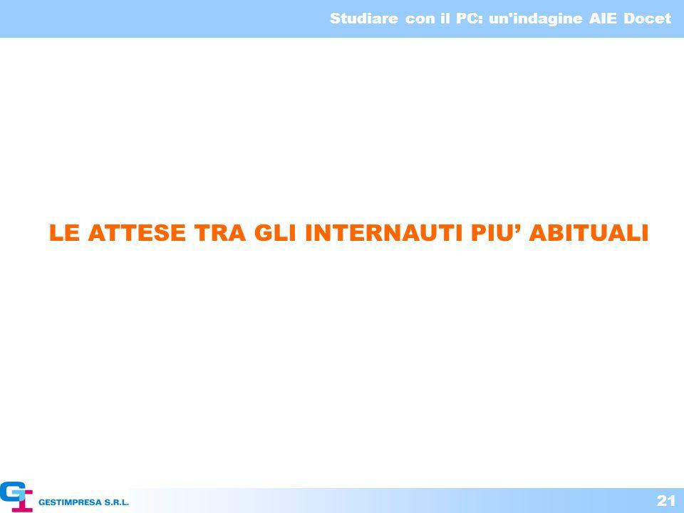 Studiare con il PC: un'indagine AIE Docet 21 LE ATTESE TRA GLI INTERNAUTI PIU ABITUALI