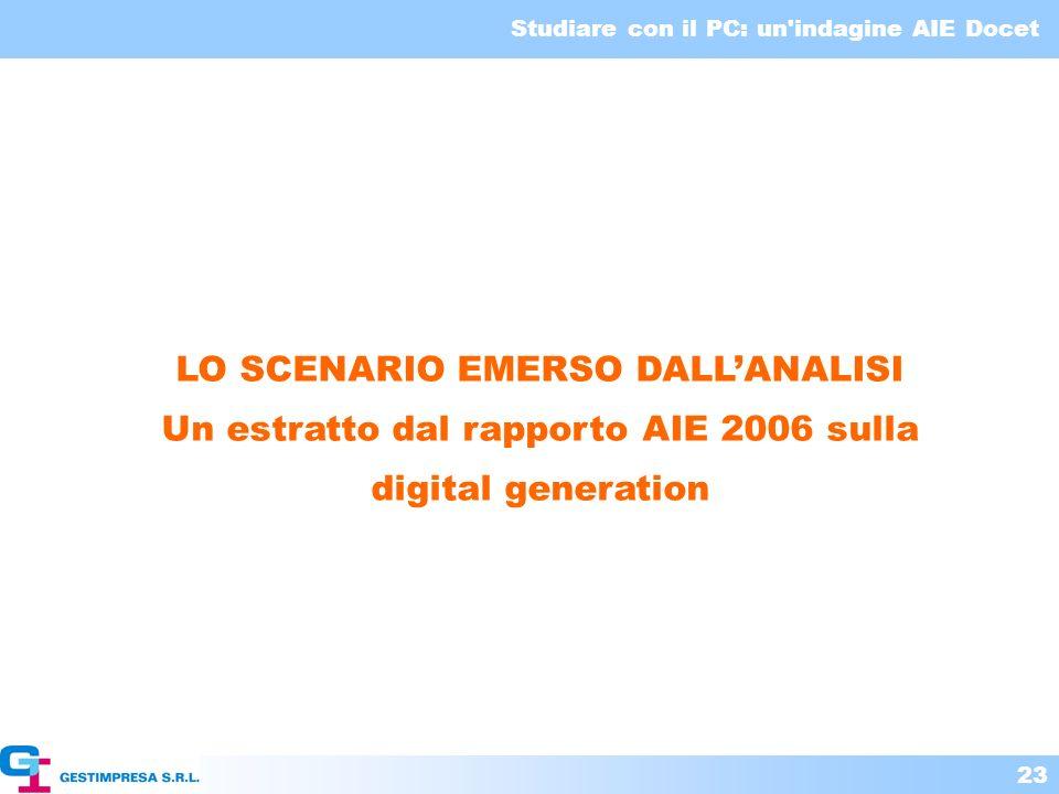 Studiare con il PC: un'indagine AIE Docet 23 LO SCENARIO EMERSO DALLANALISI Un estratto dal rapporto AIE 2006 sulla digital generation