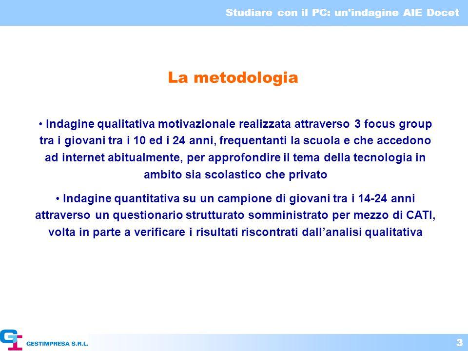 Studiare con il PC: un indagine AIE Docet 4 GLI STRUMENTI PER LAPPRENDIMENTO NELLO STUDIO INDIVIDUALE