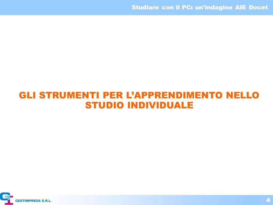 Studiare con il PC: un'indagine AIE Docet 4 GLI STRUMENTI PER LAPPRENDIMENTO NELLO STUDIO INDIVIDUALE