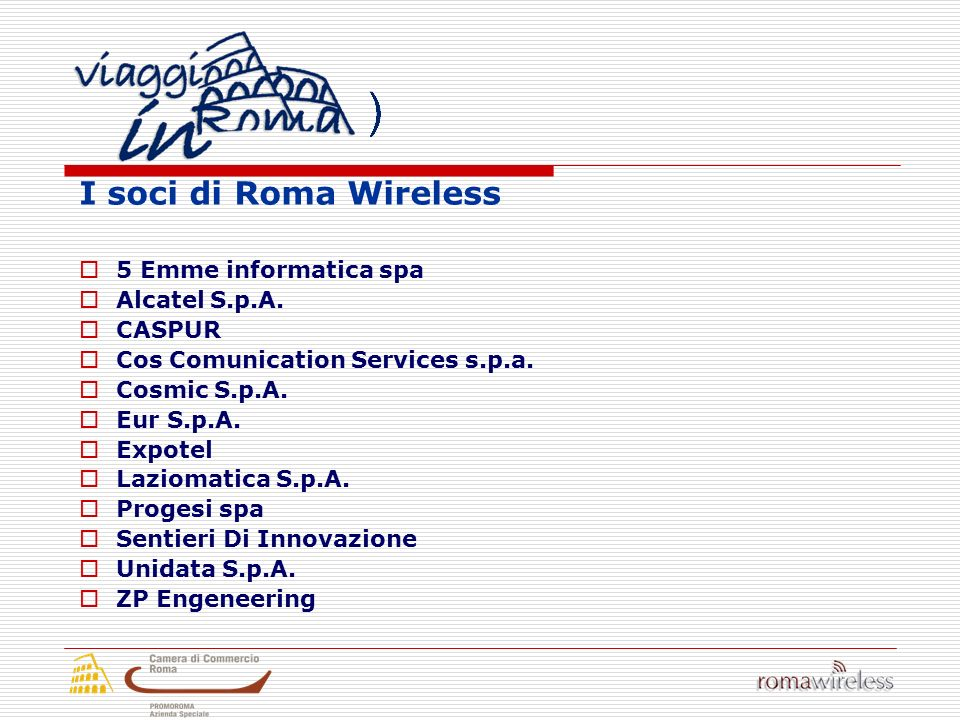 I soci di Roma Wireless 5 Emme informatica spa Alcatel S.p.A.