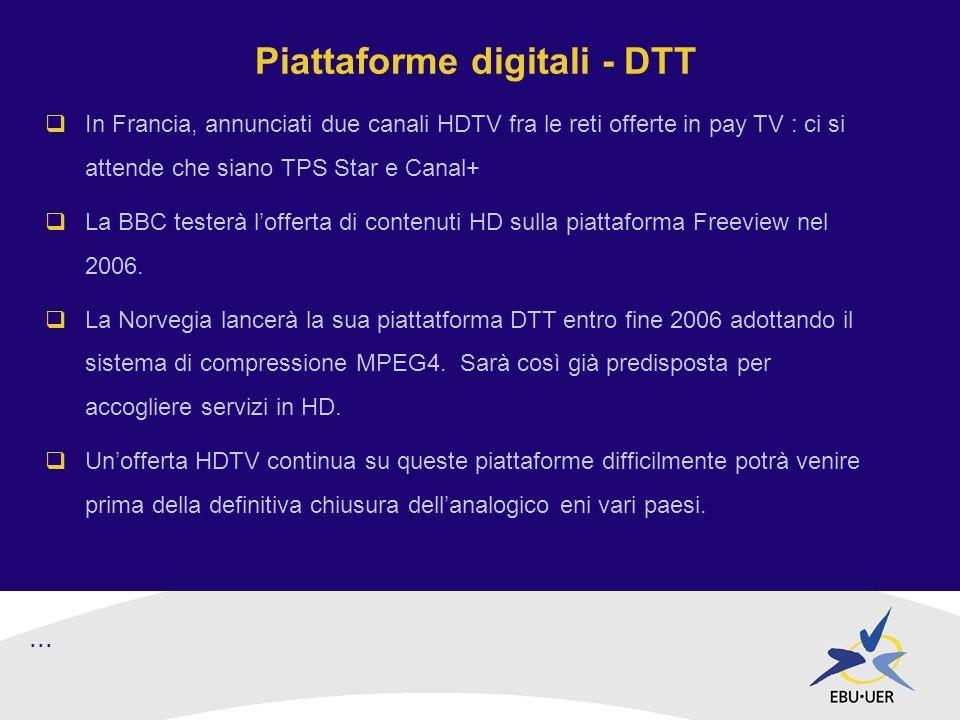 Piattaforme digitali - DTT In Francia, annunciati due canali HDTV fra le reti offerte in pay TV : ci si attende che siano TPS Star e Canal+ La BBC testerà lofferta di contenuti HD sulla piattaforma Freeview nel 2006.