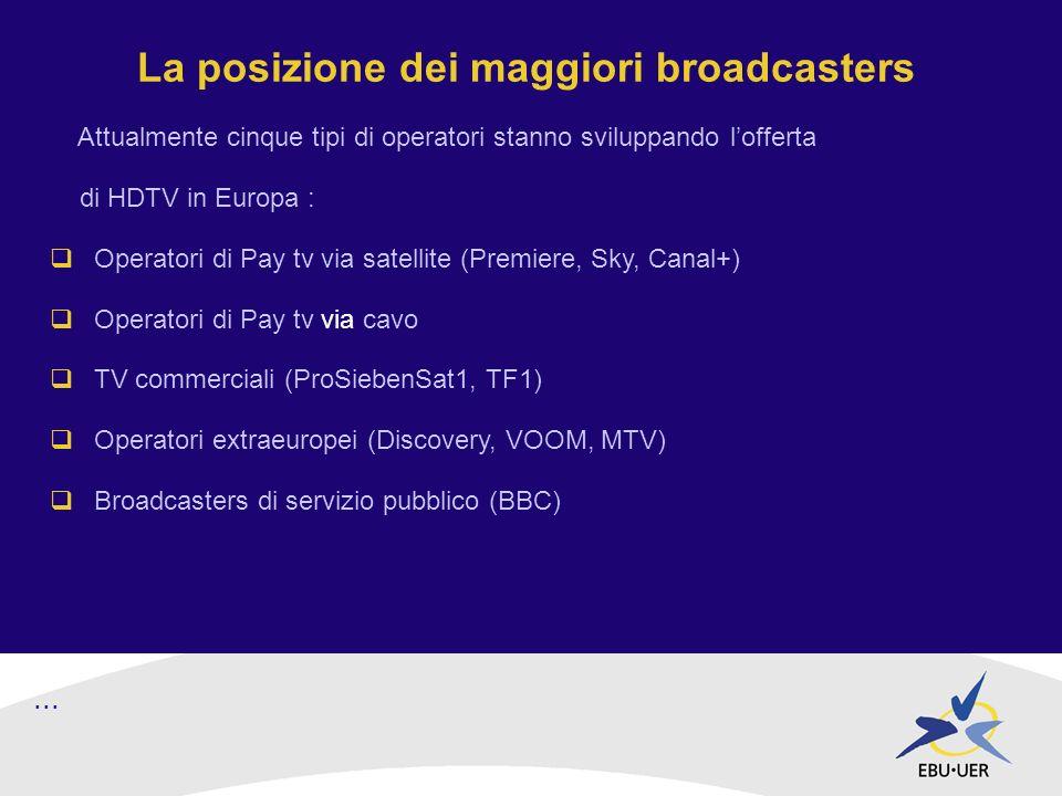 La posizione dei maggiori broadcasters Attualmente cinque tipi di operatori stanno sviluppando lofferta di HDTV in Europa : Operatori di Pay tv via satellite (Premiere, Sky, Canal+) Operatori di Pay tv via cavo TV commerciali (ProSiebenSat1, TF1) Operatori extraeuropei (Discovery, VOOM, MTV) Broadcasters di servizio pubblico (BBC)...