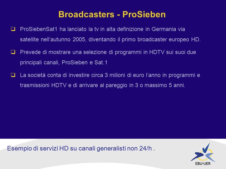 Broadcasters - ProSieben ProSiebenSat1 ha lanciato la tv in alta definizione in Germania via satellite nellautunno 2005, diventando il primo broadcaster europeo HD.