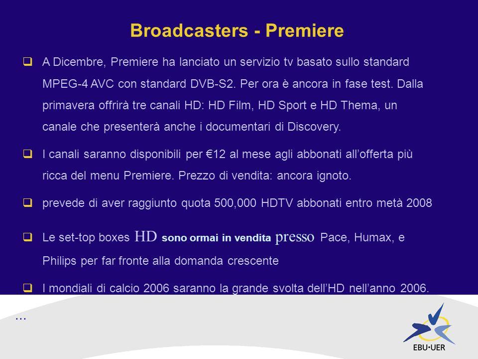Broadcasters - Premiere A Dicembre, Premiere ha lanciato un servizio tv basato sullo standard MPEG-4 AVC con standard DVB-S2.