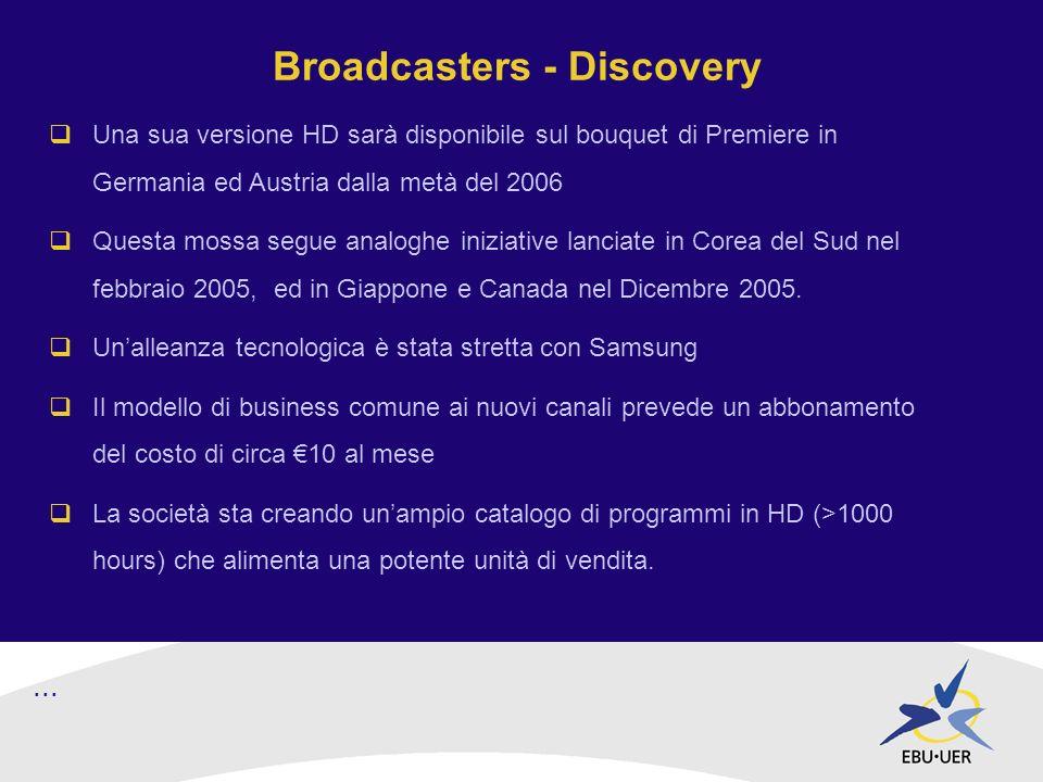 Broadcasters - Discovery Una sua versione HD sarà disponibile sul bouquet di Premiere in Germania ed Austria dalla metà del 2006 Questa mossa segue analoghe iniziative lanciate in Corea del Sud nel febbraio 2005, ed in Giappone e Canada nel Dicembre 2005.