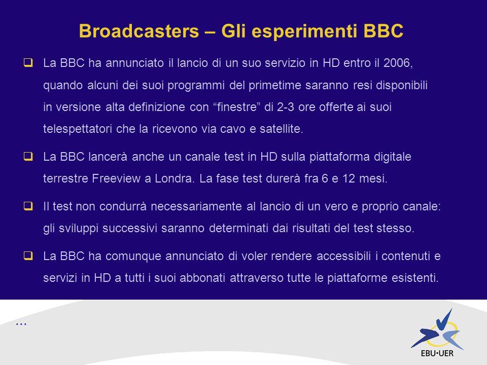 Broadcasters – Gli esperimenti BBC La BBC ha annunciato il lancio di un suo servizio in HD entro il 2006, quando alcuni dei suoi programmi del primetime saranno resi disponibili in versione alta definizione con finestre di 2-3 ore offerte ai suoi telespettatori che la ricevono via cavo e satellite.