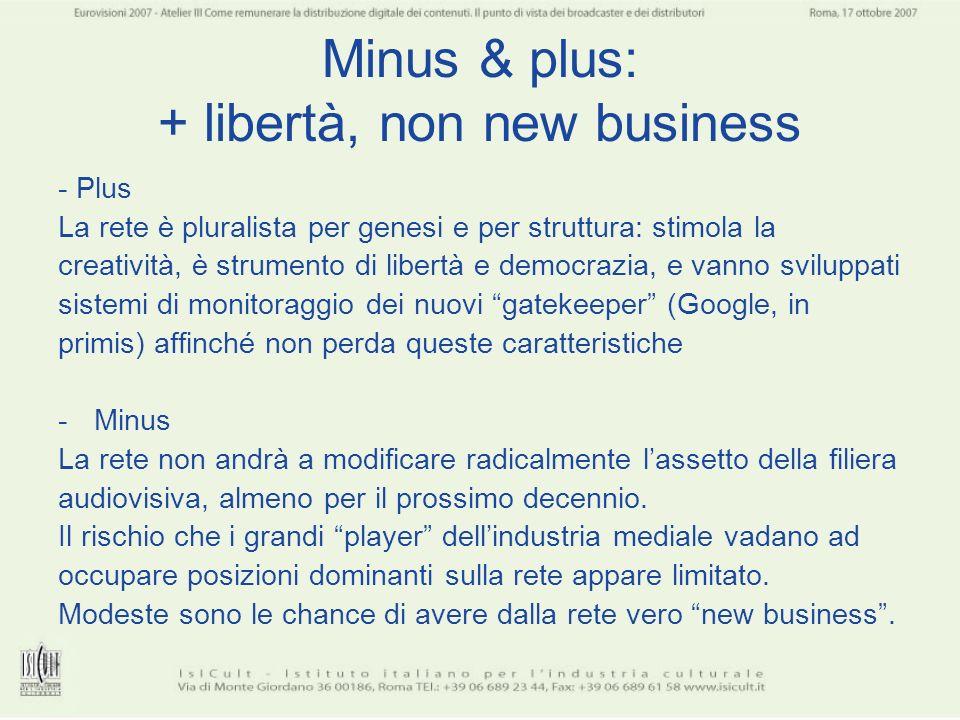 Minus & plus: + libertà, non new business - Plus La rete è pluralista per genesi e per struttura: stimola la creatività, è strumento di libertà e demo