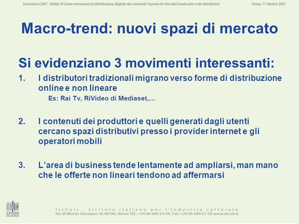 Macro-trend: nuovi spazi di mercato Si evidenziano 3 movimenti interessanti: 1.I distributori tradizionali migrano verso forme di distribuzione online