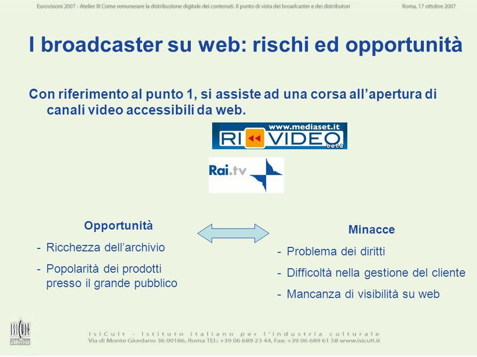 I broadcaster su web: rischi ed opportunità Con riferimento al punto 1, si assiste ad una corsa allapertura di canali video accessibili da web. Opport