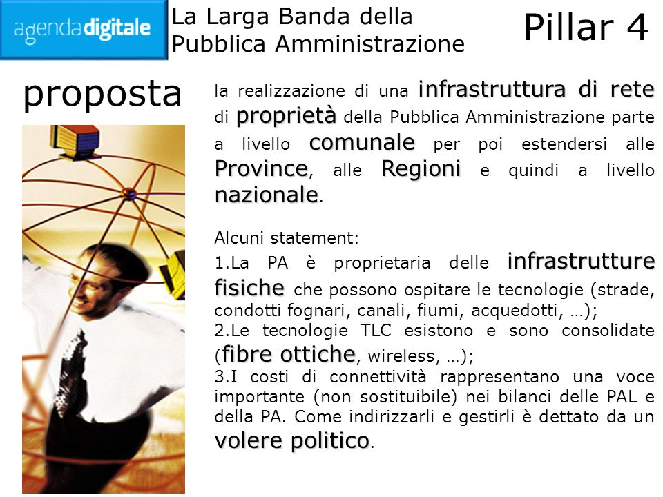 La Larga Banda della Pubblica Amministrazione Pillar 4 esempio positivo Dal 2004, la Provincia di Milano ha realizzato una rete pervasiva sul territorio.