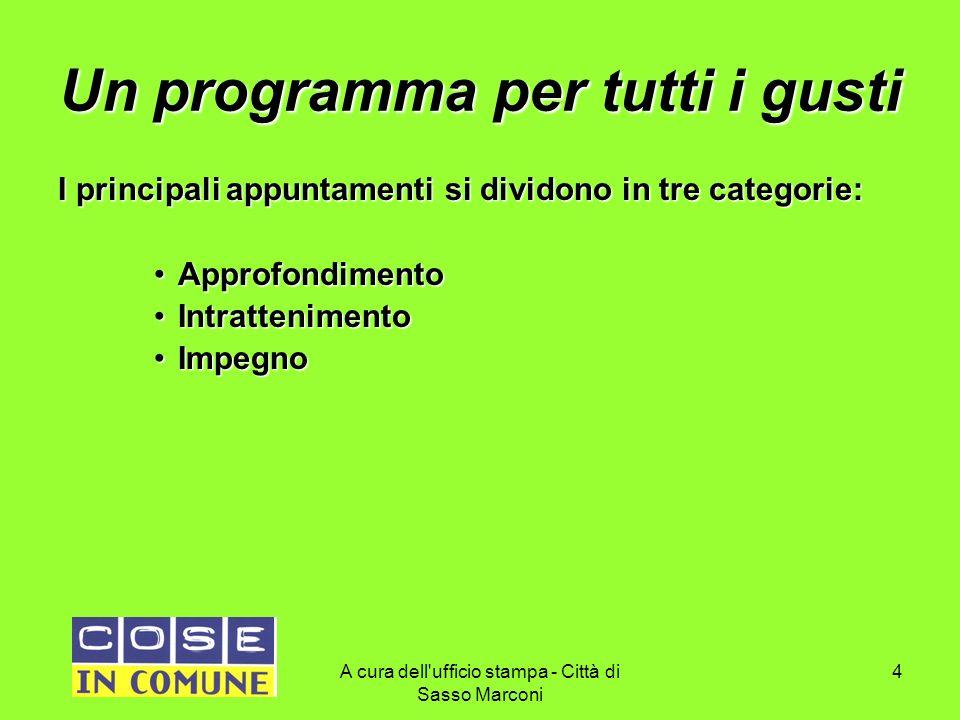 A cura dell'ufficio stampa - Città di Sasso Marconi 4 Un programma per tutti i gusti I principali appuntamenti si dividono in tre categorie: Approfond